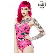 Dámské plavky Sourpuss Clothing Death Cab One Piece