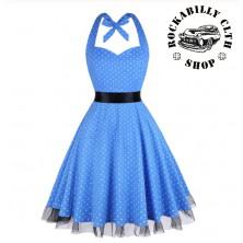 Šaty Rockabilly Retro Pin Up Barbara Polka Dot White/Blue
