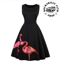 Dámské šaty Rockabilly Retro Pin Up Flamingo Black