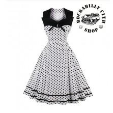 Šaty Rockabilly Retro Pin Up Nancy Polka Dot Wht / Blk