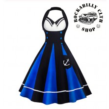 Dámské šaty Rockabilly Retro Pin Up Anchor Blk/ Blue