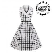 Dámské šaty Rockabilly Retro Pin Up Barbara Cubed Swing Dress Wht