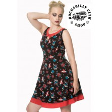 Dámské šaty Rockabilly Retro Pin Up Banned Regret Nothing Bow Dress