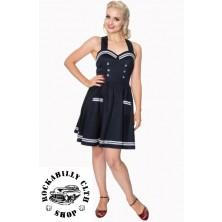 Dámské šaty Rockabilly Retro Pin Up Banned Where To Next Dress Blue