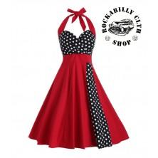 Dámské šaty Rockabilly Retro Pin Up Barbara Polka Dot Red Black