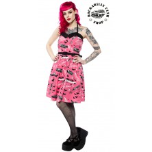 Dámské šaty Rockabilly Retro Pin Up Sourpuss Clothing Death Cab Spooksville Dress Pink