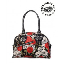 Dámská taška kabelka retro rockabilly pin-up Banned Skull Roses Bag