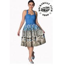 Dámské šaty Rockabilly Retro Pin Up Banned Paris Strapy Dress