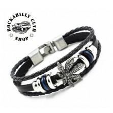 Kožený náramek Rocka bracelet Cannabis