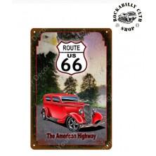 Plechová retro americká US cedule Rocka American Highway