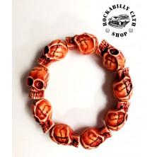 Náramek lebky Rocka Bracelet Skulls Red