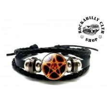 Kožený náramek Rocka Bracelet Pentagram