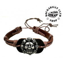 Kožený náramek lebky Rocka Bracelet Skulls Cirk