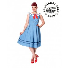 Dámské šaty Rockabilly Retro Pin Up Banned Aquarius Dress Blue