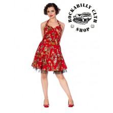 Dámské šaty Rockabilly Retro Pin Up Banned Cowgirl Halter Flare Dress