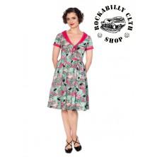 Dámské šaty Rockabilly Retro Pin Up Banned Sweet Flamingos Fit & Flare Dress