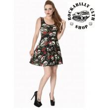 Dámské šaty Rockabilly Retro Pin Up Banned Skull Roses Dress