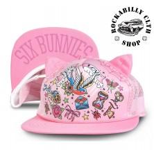 Dětská truckerka Six Bunnies True Love Tattoo Pink