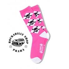 Dámské Ponožky Liquor Brand Argyle Skulls Pink