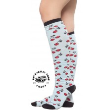 Podkolenky Sourpuss Clothing Cherries Socks Blue