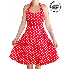 Šaty Rockabilly Retro Pin Up Barbara Polka Dot Red/Wht