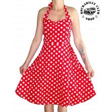 Šaty Rocka Barbara Polka Dot Red/Wht